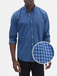 Camisa Social GAP Fit Poplin Xadrez Azul Guingão