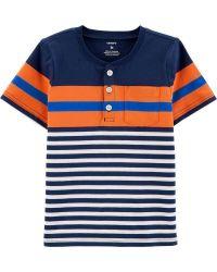 Camiseta Infantil Henley Listrada  Masculino Carter's