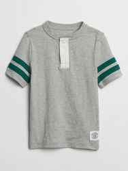Camiseta Infantil GAP com Gola Raglan - Cinza