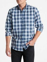 Camisa Social GAP Fit Poplin Xadrez Azul Multi