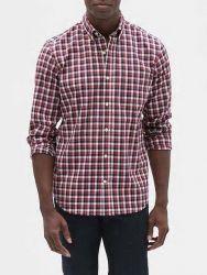 Camisa Social GAP Fit Poplin Xadrez Vermelha