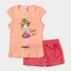 Conjunto Infantil Sweet Girl Short Saia + Blusa – 2 Peças.