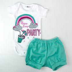 Conjunto Infantil Festa do Arco- Iris Body + Short – 02 Peças