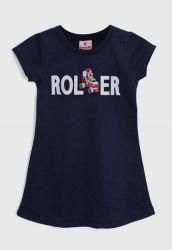 Vestido Camiseta Infantil Roller Azul-Marinho