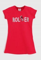 Vestido Camiseta Infantil Rollee Vermelho