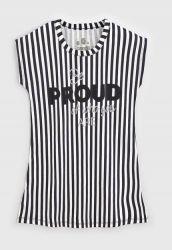 Vestido Camiseta Infantil Listrado Off-White/Preto