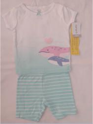 Conjunto  Infantil Camiseta e Short Baleia e Coração Feminino Carter